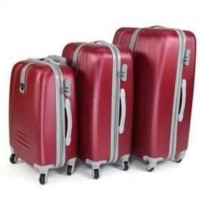 3er Hartschalen Kofferset Trolleys BURGUND 91