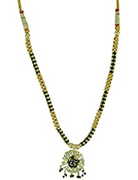 Womens Trendz Alternate Golden & Black Mani With White Crystal 24K Gold Plated Alloy Necklace