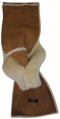 UGG UGG Australia Womens Shearling Sheepskin Winter Scarf Chestnut