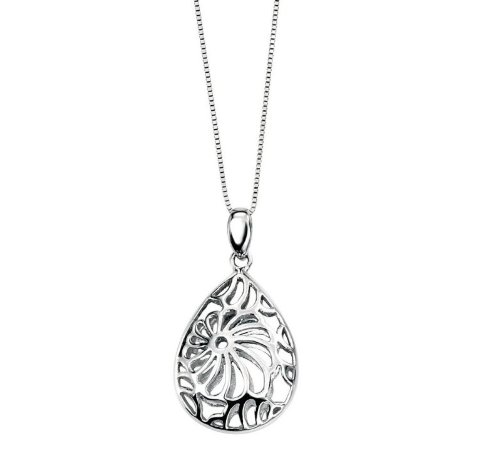 9ct White Gold Cut Out Flower Teardrop Pendant and Necklace (Includes Venetian Box Chain: 18