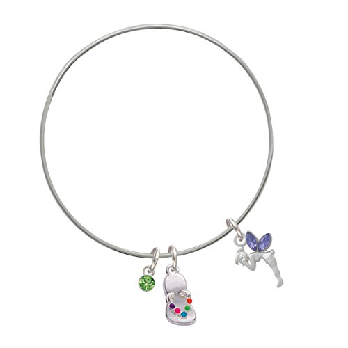 Small Fairy With Purple Wings Lime Green Crystal And Flip Flop Charm Bangle Bracelet