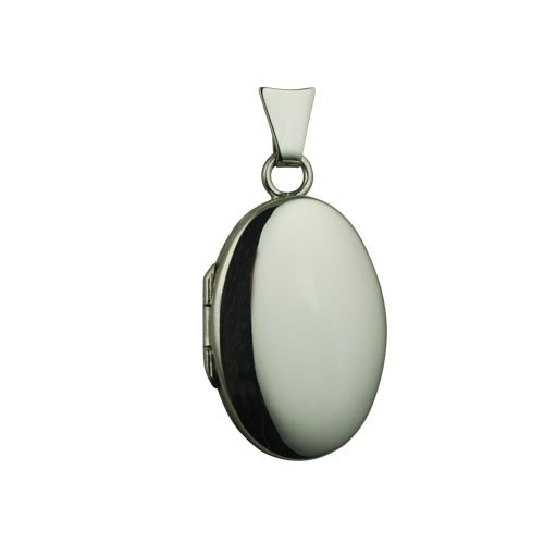 9ct White Gold 22x15mm plain handmade oval Locket