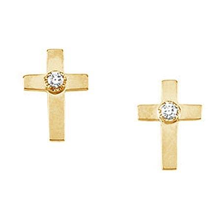 14K Yellow Gold Diamond Stud Cross Earrings - 7 x 5mm
