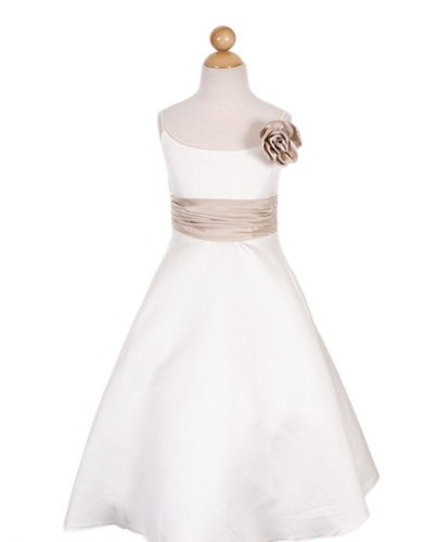 Long Satin Ivory Flower Girl/Special Occasion Dress with Champagne Rosette