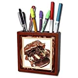 Susan Brown Designs Dessert Themes - Hot Fudge Sundae Cake - Tile Pen Holders-5 inch tile pen holder