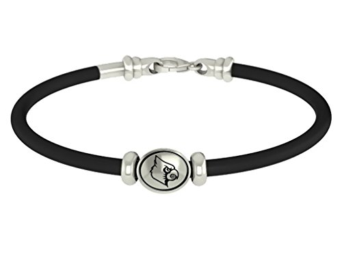 Louisville Cardinals Sterling Silver Oval Bead on Rubber Bracelet