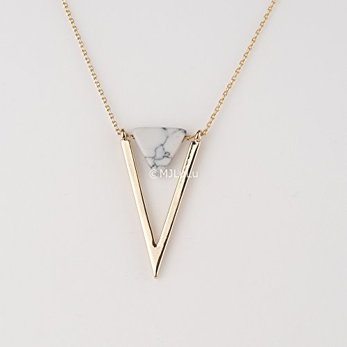 minimal-gold-chevron-pendant-with-white-howlite-triangle-stone-necklace