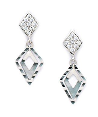 14ct White Gold CZ Fancy Drop Screwback Earrings - Measures 22x8mm