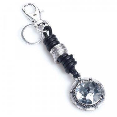 Park Lane grande argento cristallo cuore chiave o cerchio nero grigio portachiavi in pelle, Circle