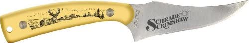 Schrade 152OTYD Sharpfinger Fixed Blade Knife Yellow Handle with Deer Scene
