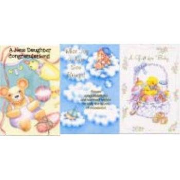 Greeting Cards - Baby [48 Pieces] *** Product Description: 48 Assorted Greeting Cards With Envelopes. You Will Receive A Minimum Of 4 Different Wholesale Discount Bulk Cheap Greeting Cards Designs Which May Include: New Baby, Baby Girl, Baby Boy, ***