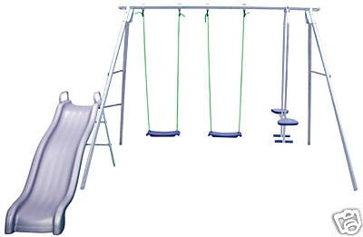 KIDS CHILDRENS GARDEN DOUBLE SWING GLIDER  &  SLIDE SET