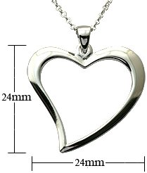 Silver Pendant - light weight heart - Comes with 16' silver link chain. Beautifully designed and hand polished to a very high jewellery standard. delicately packed in a lovely velvet pouch. You can buy the matching earrings also: see menu below