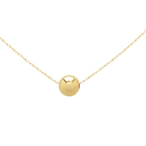 Duragold 14k Yellow Gold Bead Pendant Necklace (8mm), 18