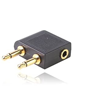 Gold Plated Airplane Headphone Socket Adaptor / Aircraft / Airplane / Airline Headphone Adaptor - Twin 3.5mm Mono Jack Plugs to 3.5mm Stereo Jack Socket - For use on most major airlines - Comaptibles E-Shop