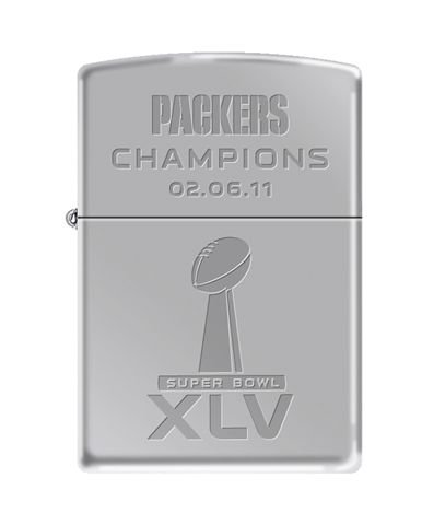 Green Bay Packers NFL Zippo Lighter - SB XLV Chrome