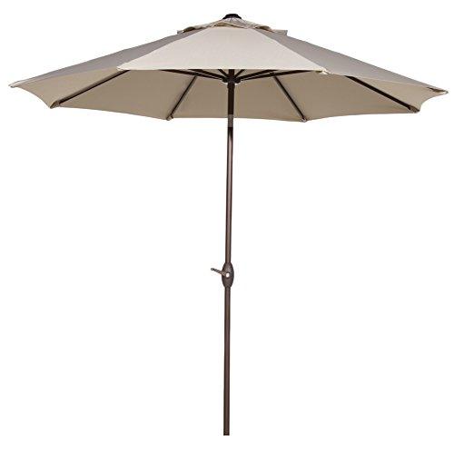 Abba Patio 9 Ft Outdoor Table Aluminum Patio Umbrella with Auto Tilt and Crank, Alu. 8 Ribs, Beige