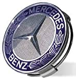 31fsS7lDTrL. SL160  Mercedes Benz Four Blue Classic Logo Wheel Center Cap Set