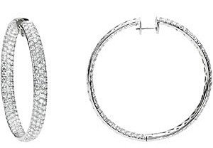12.25 carat total weight Diamond Inside/Outside Hoop Earrings set in 18 kt White Gold
