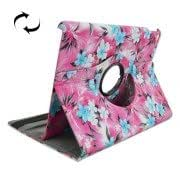 Magenta Background Blue Flowers Pattern 360 Degree Rotation Leather Case with 2 Gears Holder for iPad Air 2 / iPad 6