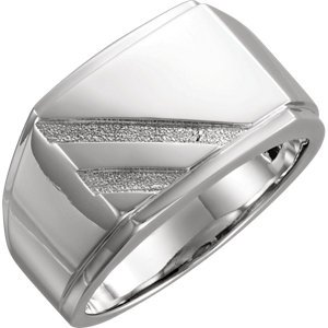 14kt White Men's Signet Ring ,Size- 10