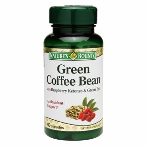 Natures Bounty Green Coffee Bean with Raspberry Ketones and Green Tea Capsules, 60 Count