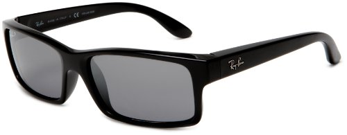 Ray-Ban RB4151 Rectangle Sunglasses 59 mm, Polarized, Shiny Black/Polarized Crystal  Grey Silver Mirror