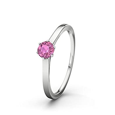21DIAMONDS Amalfi Pink Tourmaline Brilliant Cut Women's Ring 14 Carat (585) White Gold Engagement Ring