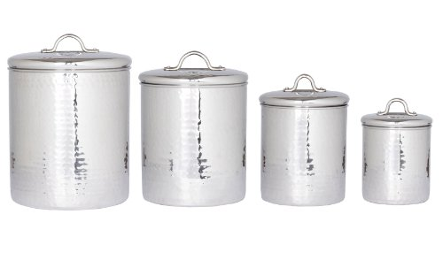 Old Dutch Stainless Steel Hammered 4-Piece Canister Set 0