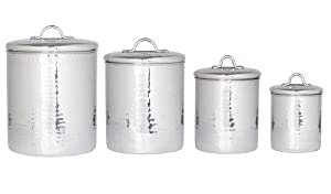 Old Dutch 4 pc. Stainless Steel Hammered Canister Set with Fresh Seal Covers