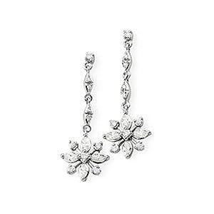 IceCarats Designer Jewelry 14K White Gold Diamond Earring. Pair 1/2 Ct Tw