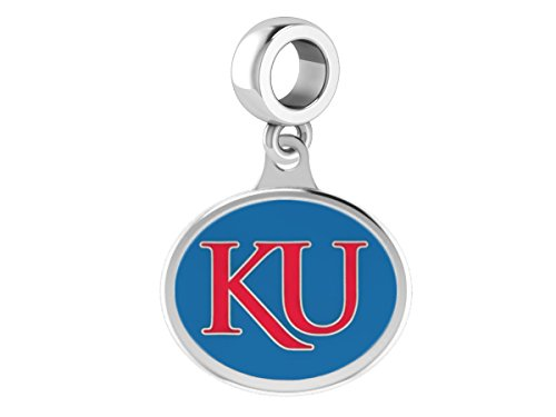 University of Kansas Jayhawks Enameled Drop Charm. Solid Sterling Silver with Color Enamel