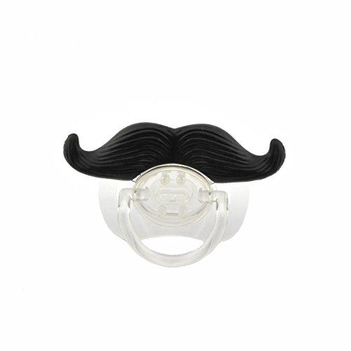 VORCOOL baffi carino divertente stile Baby Boy ragazza infantile ciuccio succhietto massaggiagengive ortodontico barba fittizio capezzolo (nero + trasparente)