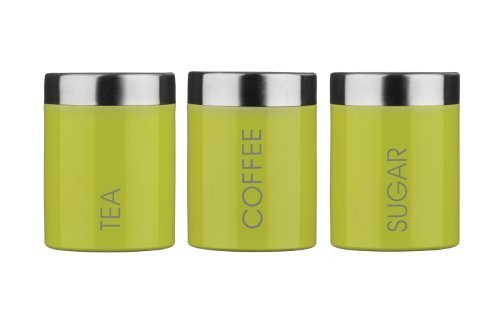 Premier Housewares Tea, Coffee & Sugar Canisters, Lime Green by Premier Housewares