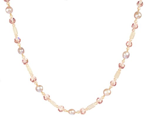 Pink Ice Glass and Freshwater Cultured Pearl Necklace with Vermeil Clasp,18+2