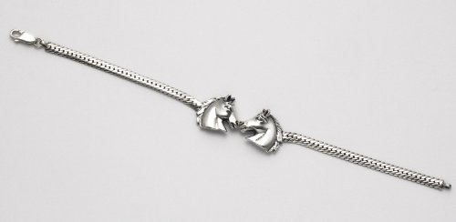 Sterling Silver 2 Horse Heads 7 inch Bracelet with Lobster Clasp