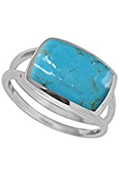 Boma Sterling Silver & Rectangle Turquoise Ring - Size 8