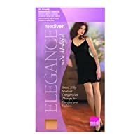 Mediven Elegance 16605 Silk Thigh High with Top Band, Closed Toe, 20-30mmHg, Compression Stocking, V, Beige