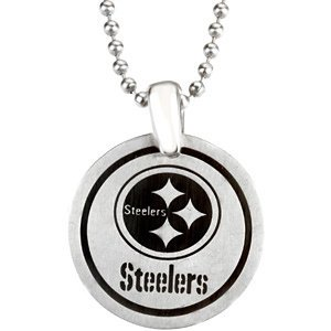 Stainless Steel Pittsburgh Steelers NFL Football Team Round Disc Pendant Necklace 27