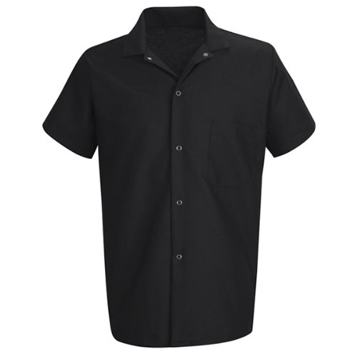 Red Kap Chef Designscook Shirt , Black, Short Sleeve 3X-Large