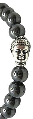 WUNDERSCHÖNES BUDDHA-ARMBAND FÜR MÄNNER ODER FRAUEN, MEDITATION. HÄMATIT-PERLEN. Schwarze Mala, buddhistisches Gebet, Zen-Buddhismus, Reiki-Heilung. Energiekristall. Entspannung. KOSTENLOSER HÄMATIT-SORGENSTEIN
