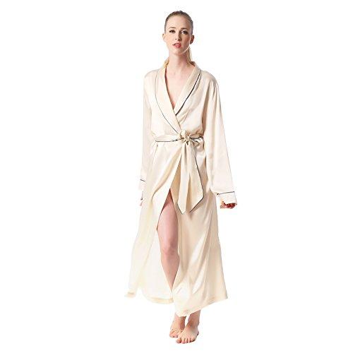 Jasmine seta 100% un cappotto Robe donna Nude in seta