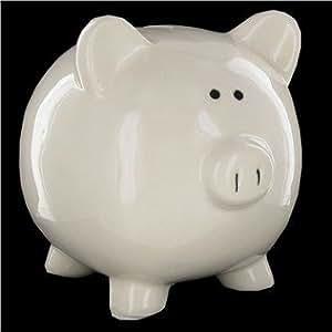 Large White Ceramic Piggy Bank