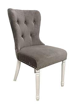 Shankar Nebraska estilo de terciopelo gris silla, tamaño: H 95 cm, con 48 cm, D 64 cm