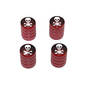 Skull and Crossbones - Tire Rim Valve Stem Caps - Red
