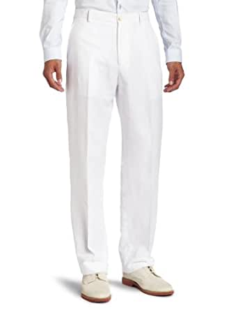 Perry Ellis Men's Linen/Cotton Herringbone Pant, Bright White, 32x29
