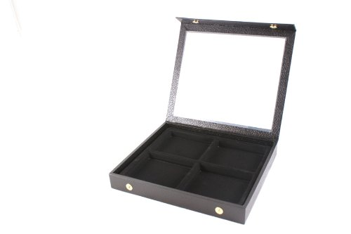 Display Case Snap Close Acrylic Lid + Black 4 Compartment Insert
