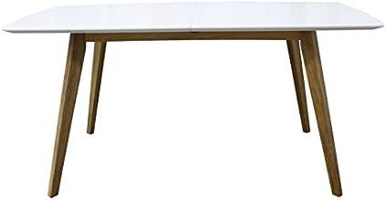 Tenzo 2184-001 Bess Designer Esstisch, Tischplatte MDF lackiert, Matt, Untergestell massiv, 75 x 160 205 x 95 cm, weiß / eiche