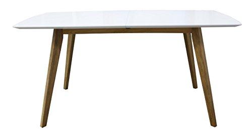 2184-001 Bess Designer Esstisch, Tischplatte MDF lackiert, Matt, Untergestell massiv, 75 x 160 205 x 95 cm, weiß / eiche