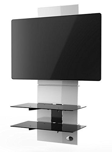"""Meliconi Ghost Design 3000 Supporto per TV da 32"""" a 63"""" con Mensole in Vetro Temperato, Bianco"""